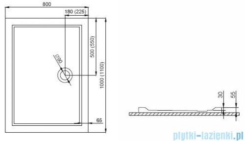 Polimat Goliat 2 brodzik prostokątny posadzkowy 100x80cm 00351