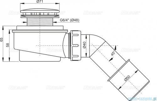 Alcaplast  zestaw odpływowy brodzikowy Ø52 chrom A471CR-50