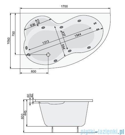 Poolspa Wanna asymetryczna MISTRAL 170x105 prawa + hydromasaż Smart 2 PHA4T10ST2C0000