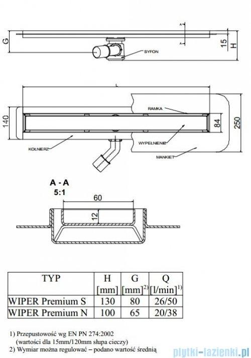 Wiper Odpływ liniowy Premium Sirocco 90cm z kołnierzem poler S900PPS100
