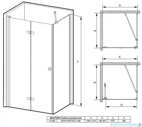 Massi Montero kabina prostokątna bifold 110x80x190cm przejrzyste MSKP-MN-00211080