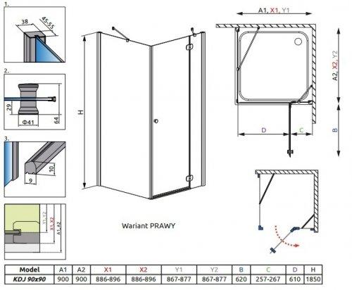 Radaway Torrenta Kdj kabina kwadratowa 90x90 prawa szkło carre 32202-01-10NR