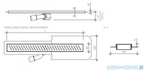Wiper New Premium Tivano Odpływ liniowy z kołnierzem 90 cm poler 100.1968.01.090