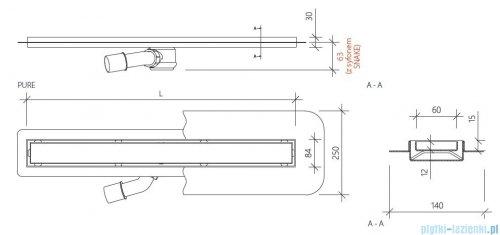 Wiper New Premium Pure Odpływ liniowy z kołnierzem 100 cm mat 100.1973.03.100