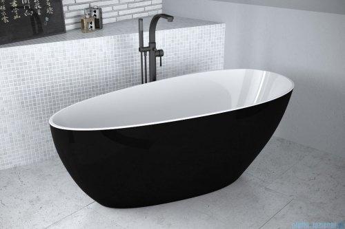 Besco Goya XS B&W 142x62cm wanna wolnostojąca + odpływ klik-klak biało-czarna