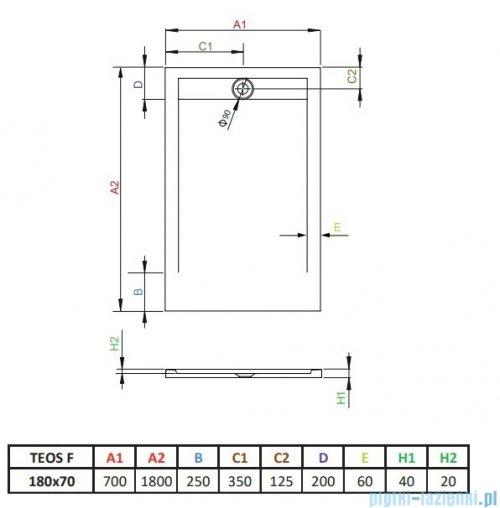 Radaway Teos F brodzik 180x70cm antracyt HTF18070-64