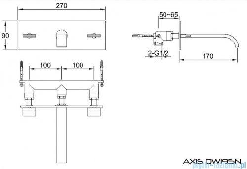 Kohlman Axis podtynkowa bateria umywalkowa QW195N