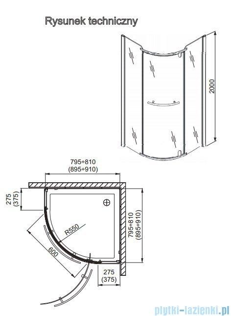 Aquaform Puenta Wind Kabina Półokrągła Jednoskrzydłowa 90x90cm 100