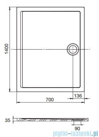 Roca Aeron brodzik prostokątny 140x70x3,5cm szary łupek + syfon A276290200