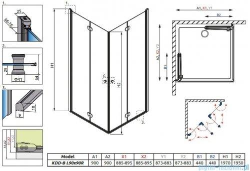 Radaway Eos KDD-B kabina prysznicowa 90x90 szkło intimato + brodzik Delos C + syfon 37303-01-12N