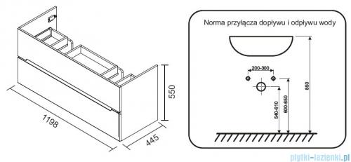 rysunek techniczny Oristo Silver szafka podwójna z blatem 120x55x44cm biały połysk OR33-SD2S-120-1-D/OR33-B-120-1