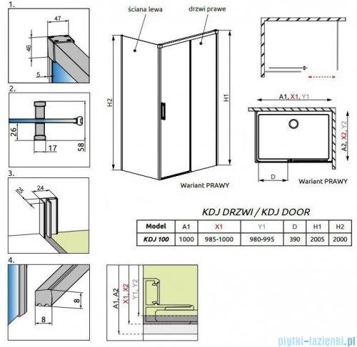 Radaway Idea Black Kdj drzwi 100cm prawe szkło przejrzyste 387040-54-01R