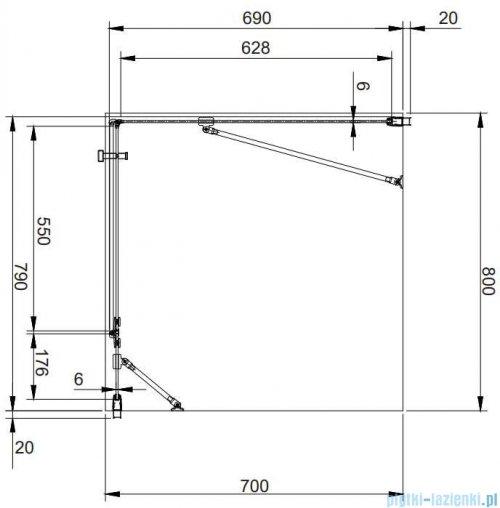 Omnires Manhattan kabina prostokątna 80x70cm szkło przejrzyste MH8070CRTR