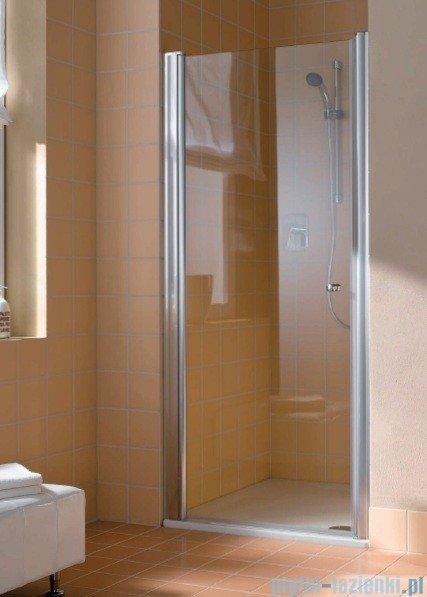Kermi Atea Drzwi wahadłowe jednoskrzydłowe lewe, szkło przezroczyste, profile białe 85cm AT1WL085182AK