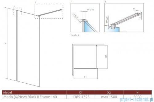 Radaway Modo New Black II  Frame 150x200 kabina Walk-in 389154-54-56