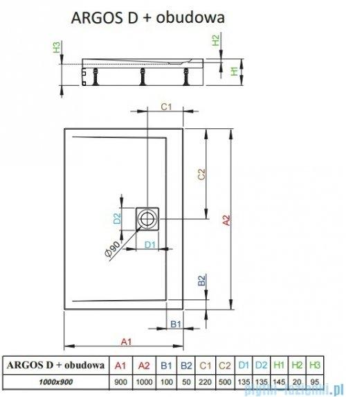 Radaway Brodzik prostokątny Argos D 100x90x14,5 cm + nogi 4ADN910-02
