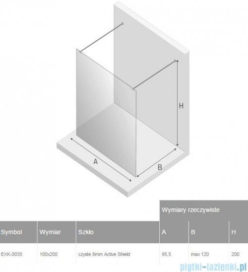New Trendy New Modus kabina Walk-In 100x200 cm przejrzyste rysunek techniczny