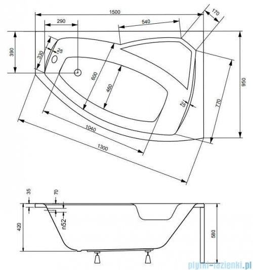 Besco Rima 150x95cm wanna asymetryczna prawa + obudowa + syfon #WAR-150-NP/OAR-150-P/L/19975