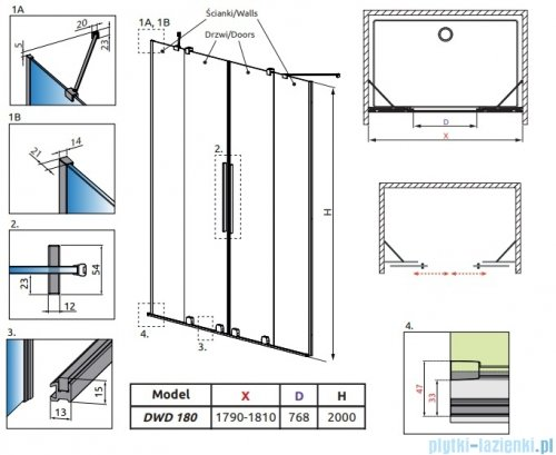 Radaway Furo Black DWD drzwi prysznicowe 180cm szkło przejrzyste 10108488-54-01/10111442-01-01