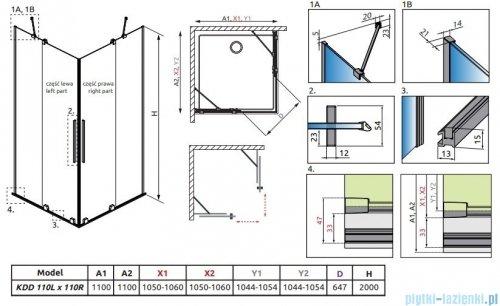 Radaway Furo Black KDD kabina 110x110cm szkło przejrzyste 10105110-54-01L/10105110-54-01R