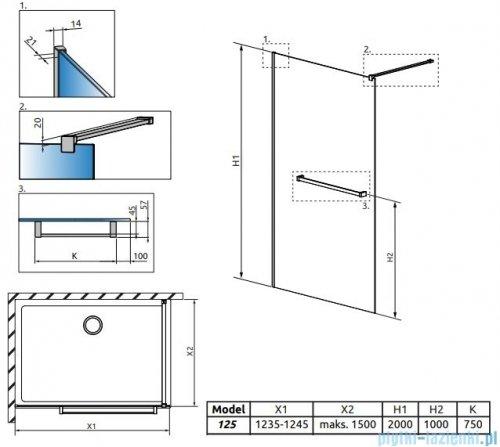Radaway Modo New II z wieszakiem kabina Walk-in 125x200 szkło przejrzyste 389125-01-01W