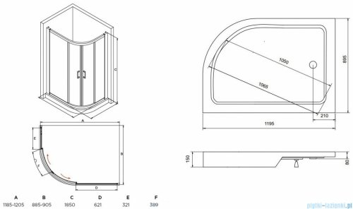 Besco Modern kabina asymetryczna z brodzikiem lewym 120x90cm przejrzyste MA-120-90-C/#BAS-120-NL