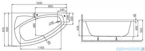 Polimat Frida wanna asymetryczna 150x90 prawa 00273 rysunek techniczny