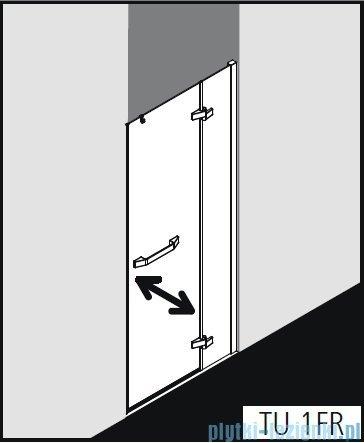 Kermi Tusca drzwi wahadłowe 1-skrzydłowe z ścianką stałą prawa 90 cm TU1FR09020VPK
