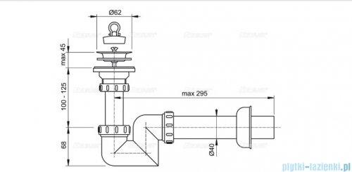 """Alcaplast syfon umywalkowy """"S"""" DN40, sitko nierdzewne DN63 A412-DN40"""