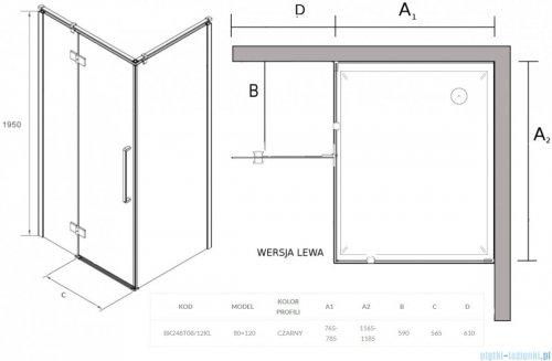 Sea Horse Fresh Line Black kabina prostokątna 120x80 cm lewa przejrzyste BK248T08/12KL