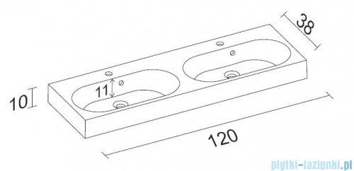 Riho Slimline umywalka meblowa podwójna 120x38cm F7SL112038122