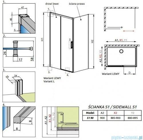 Radaway Idea Black Kdj ścianka boczna 90cm prawa szkło przejrzyste 387050-54-01R