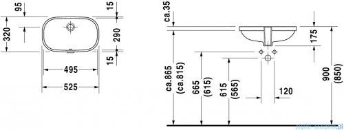 Duravit D-Code umywalka podblatowa z przelewem bez półki na baterię 495x290 mm 033849 00 00