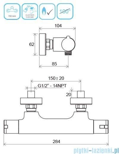 Ravak Termo bateria natryskowa ścienna termostatyczna X070034
