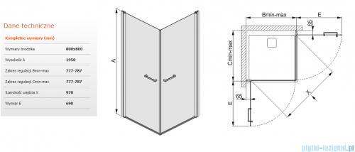 Sanplast kabina narożna kwadratowa 80x80x195 cm KN2/PRIII-80 przejrzyste 600-073-0420-01-401