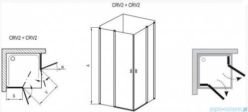 Ravak Chrome Kabina prysznicowa narożna, jedna połowa CRV2-90 satyna+transparent 1QV70U00Z1