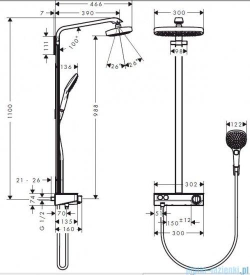 Hansgrohe Komplet prysznicowy Raindance Select E 300 2jet DN15 biały/chrom 27126400