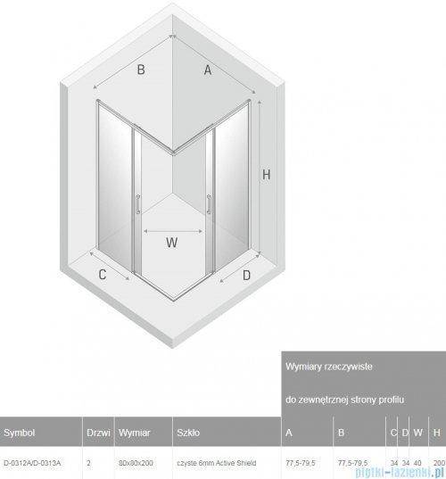 New Trendy Prime Black kabina kwadratowa 80x80x200 cm przejrzyste D-0312A/D-0313A