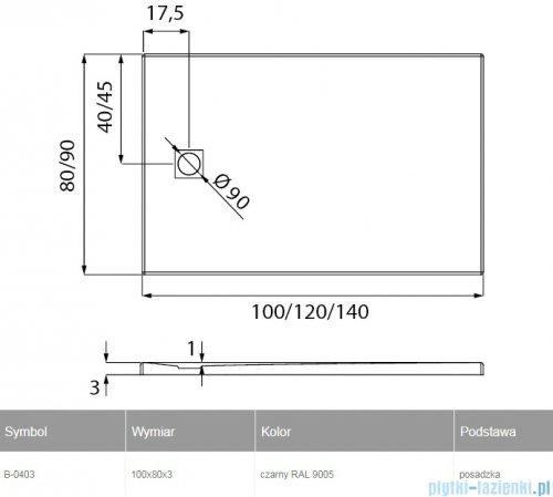 New Trendy Mori brodzik prostokątny z konglomeratu 100x80x3 cm czarny B-0403