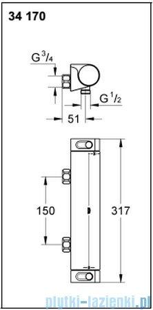 Grohe Grohtherm 2000 NEW bateria prysznicowa z termostatem DN 15 34170001