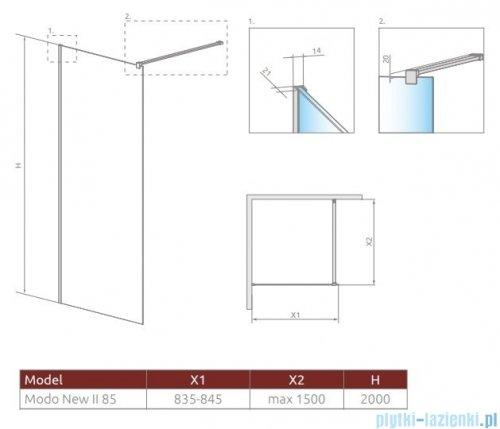 Radaway Modo X II kabina Walk-in 85x200 szkło przejrzyste 10mm 389285-01-01