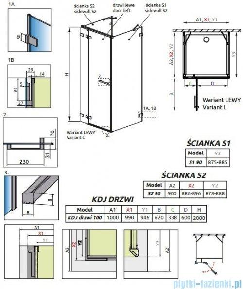 Radaway Euphoria KDJ+S Kabina przyścienna 90x100x90 lewa szkło przejrzyste 383612-01L/383220-01L/383050-01/383030-01