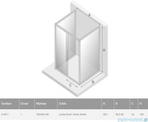 New Trendy New Varia kabina trójścienna 100x90x190 cm przejrzysta K-0511