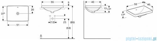 Koło Variform umywalka wpuszczana w blat 55x40cm 500.736.01.6