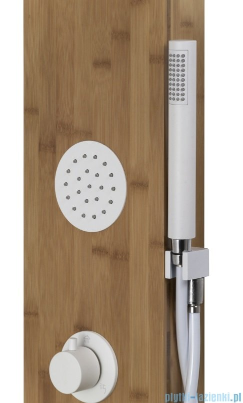 Corsan Bali panel prysznicowy z mieszaczem białym drewno bambusowe B-231MB