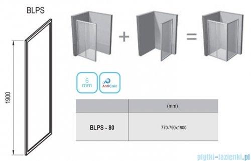 Ravak Blix BLPS ścianka boczna stała 80cm aluminium transparent Anticalc 9BH40C00Z1
