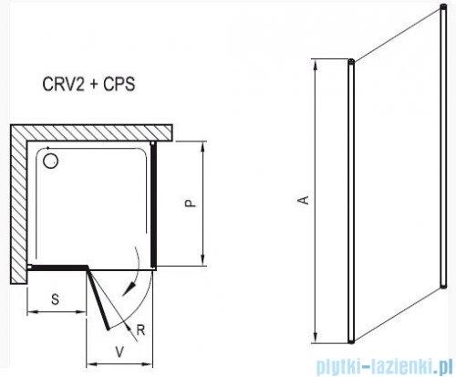 Ravak Chrome Prysznicowa ścianka stała CPS-80 satyna+transparent 9QV40U00Z1