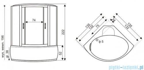Novoterm P135 Kabina hydromasażowa 135x135x222 cm