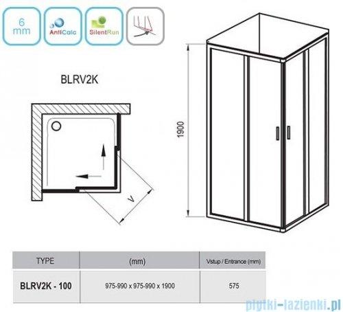 Ravak Blix BLRV2K drzwi prysznicowe 1/2 100cm białe grape Anticalc 1XVA0100ZG