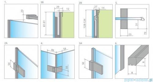 Radaway Arta Dwd+s kabina 90x80cm lewa szkło przejrzyste 386181-03-01L/386051-03-01R/386110-03-01